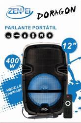 PARLANTE PORTATIL 12 PULGADAS ZENEI DORAGON MIC USB SD TF FM BT REMOTO CAJA COLOR