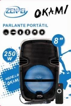 PARLANTE PORTÁTIL 8 ZENEI OKAMI 250W MIC USB SD TF FM BLUETOOTH REACONDICIONADO