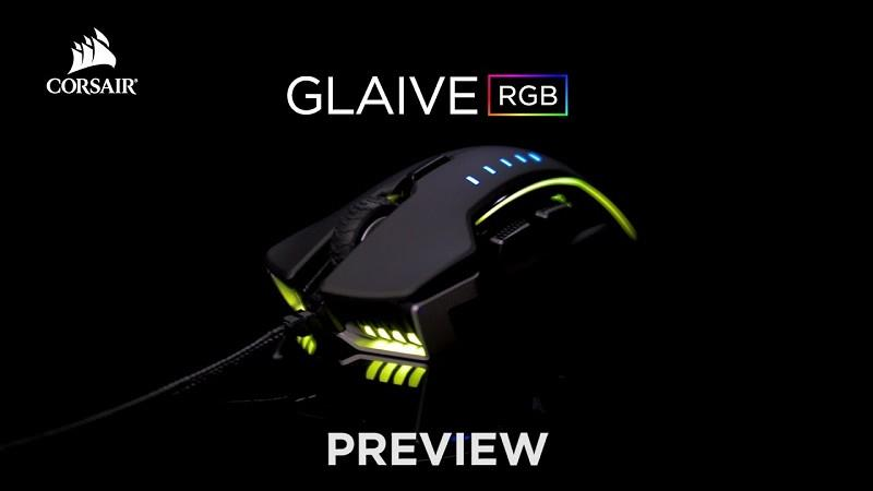 MOUSE CORSAIR GAMING GLAIVE BLACK RGB 16000 DPI OPTICAL