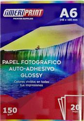 PAPEL FOTOGRAFICO AMERIPRINT A6 GLOSSY ADHESIVO 130GRS X20 HOJAS
