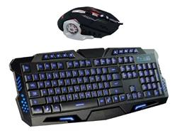 TECLADO Y MOUSE GAMER COMBO CON LUCES LED TECLADO 10 TECLAS MULTIMEDIA GLOBAL KL112