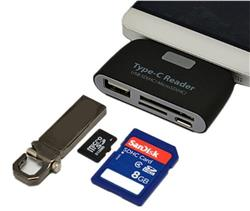 HUB TIPO C 4 EN 1 USB/SD/MICRO-SD/MICRO USB LECTORA TARJETA SD