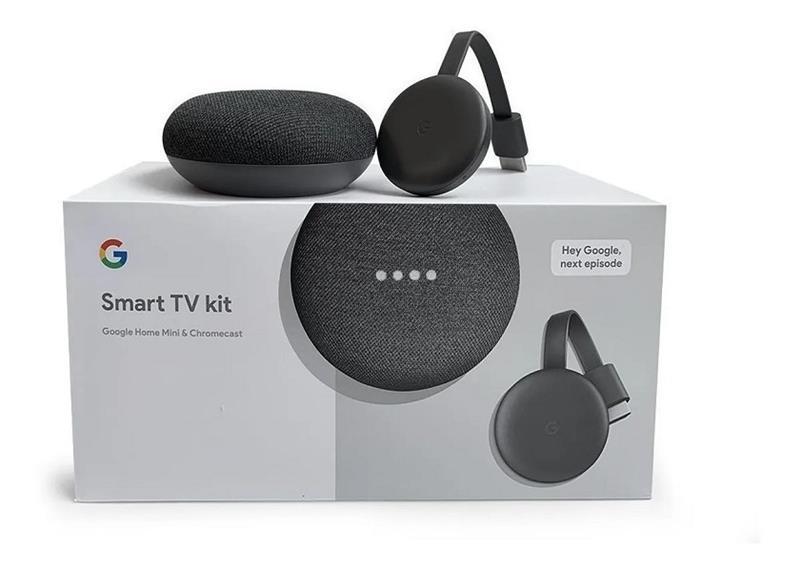 Smart Tv Kit Google Chromecast 3 + Home Mini Original Asistente De Voz Y Parlante 3w